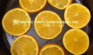 oranges in skillet