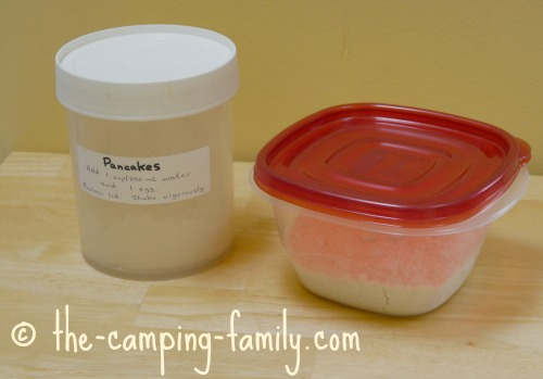 pancake mix in containers