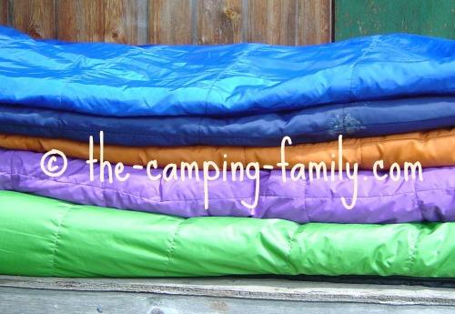 pile of sleeping bags