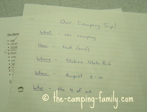 camping planning list