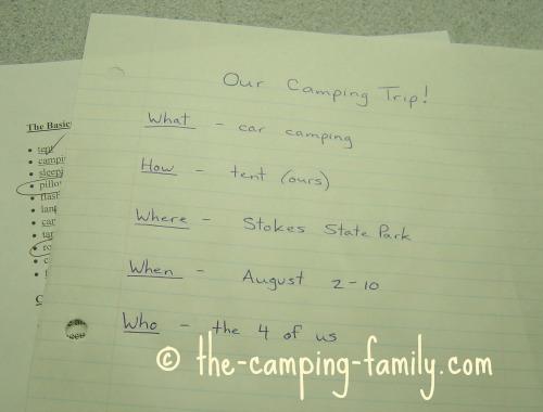 camping planning list