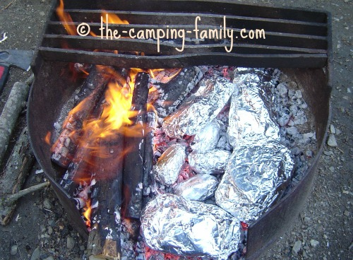 tin foil dinners in the coals