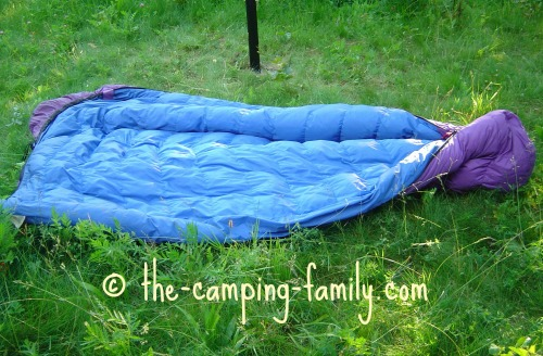 purple down sleeping bag