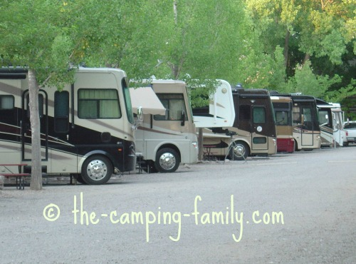 row of motorhomes in campground