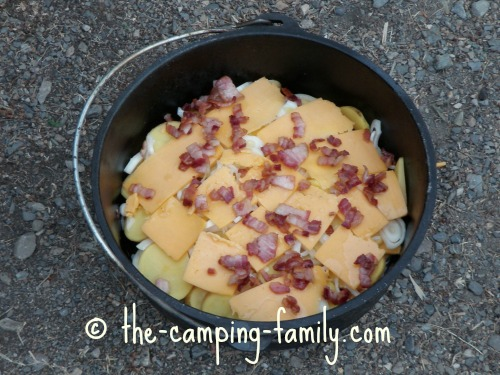 Layered Bacon, Potato and Cheese Supper ready to cook