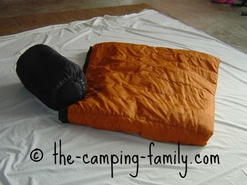 sleeping bag in stuff sack