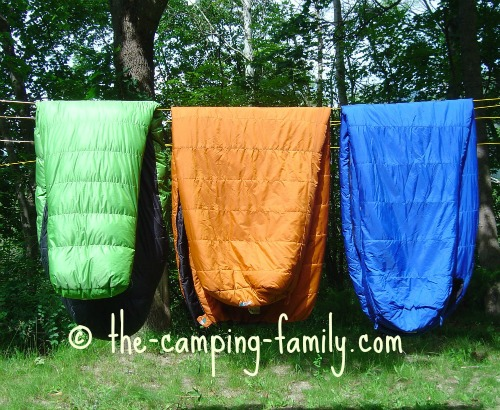 sleeping bags on clothesline