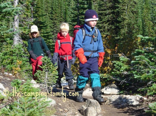 3 small boys hiking