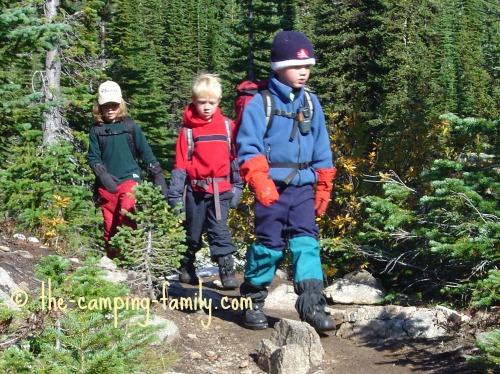3 small boys hiking