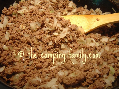 ground beef and onions for Taco Salad
