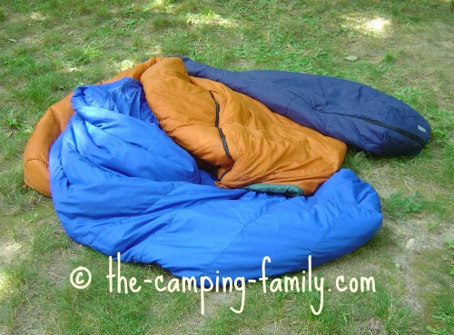 sleeping bags on the ground
