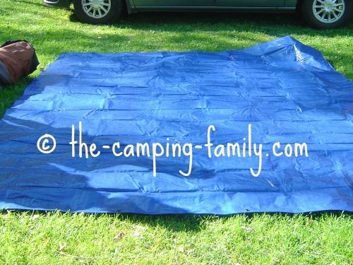 blue tarp on the ground