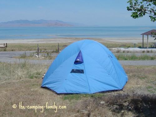 tent overlooking Great Salt Lake