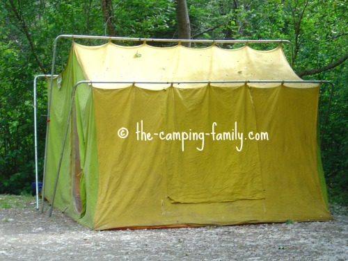 canvas tent with loops for poles