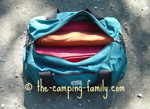 thermarest pads in duffle bag