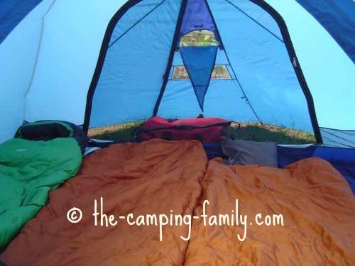 interior of tent with tidy sleeping bags