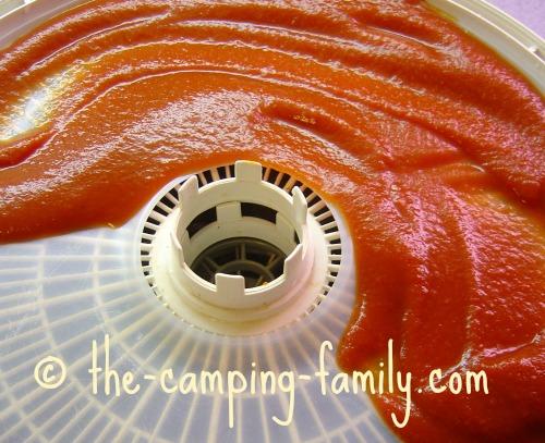 food dehydrator plastic sheet with tomato sauce