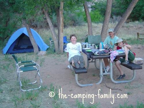 family camping in BLM campsite