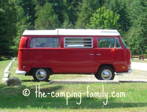 red Westfalia camper