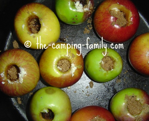 cored apples filled with brown sugar and butter