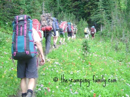 nine backpackers