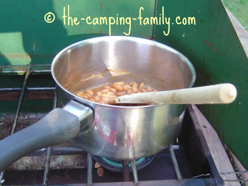 canned beans in a pot