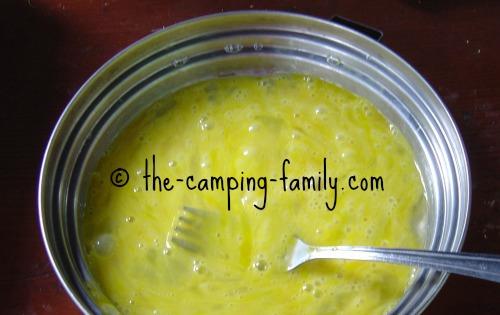 beaten eggs in pan