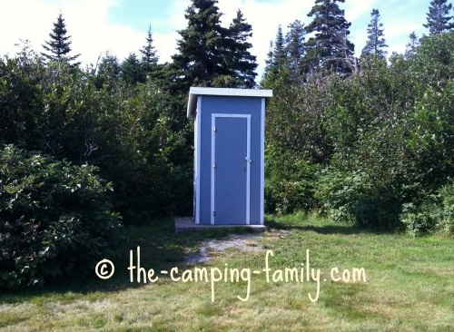 outhouse in an orchard