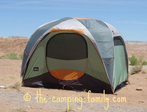 tall cabin style tent in the desert
