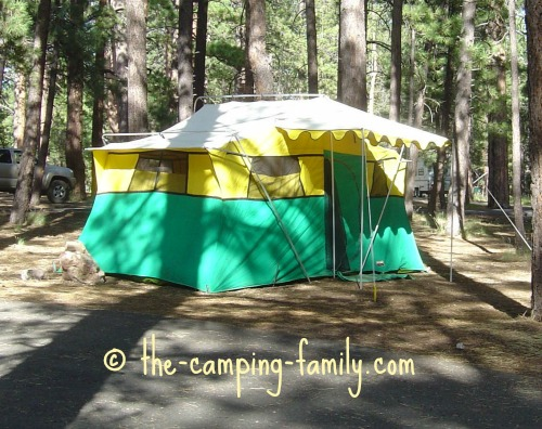 canvas cabin tent with awning