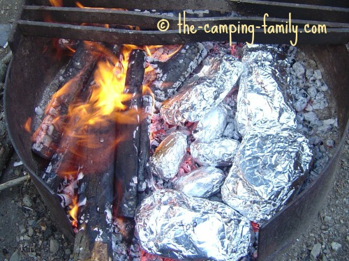 foil dinners in the coals