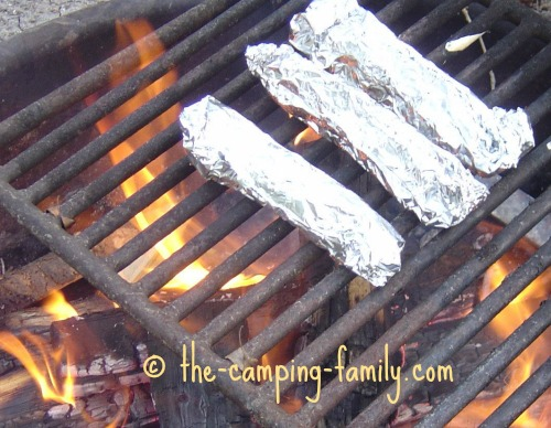 foil packets on campfire grill