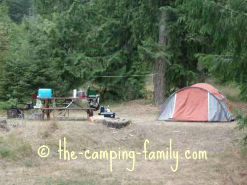 campsite with Coleman stove