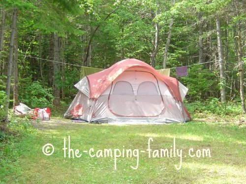 family tent in campsite