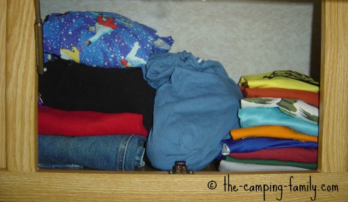 clothing in RV cupboard