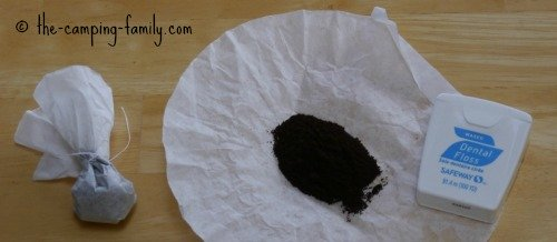 coffee filter, dental floss, coffee