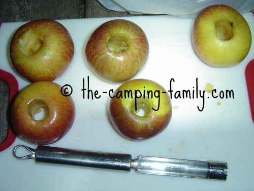 cored apples and apple corer