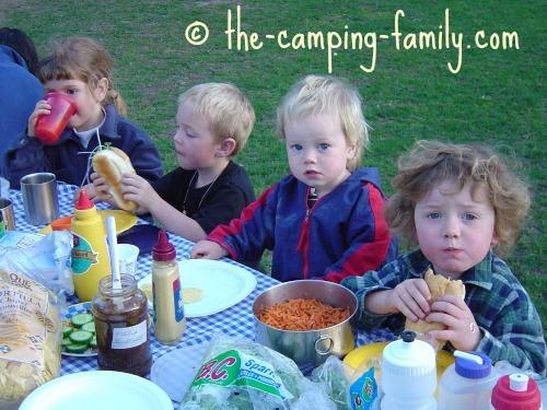 small boys at picnic table