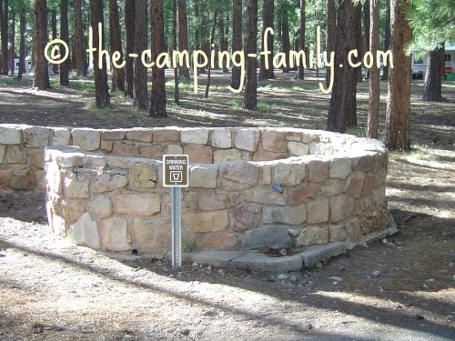 drinking water tap at campground