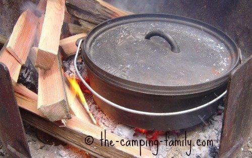 Dutch oven in campfire