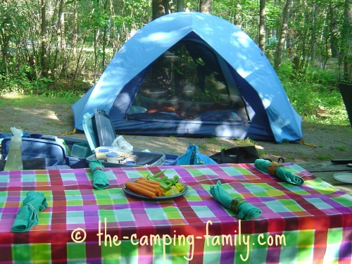 picnic table and tent