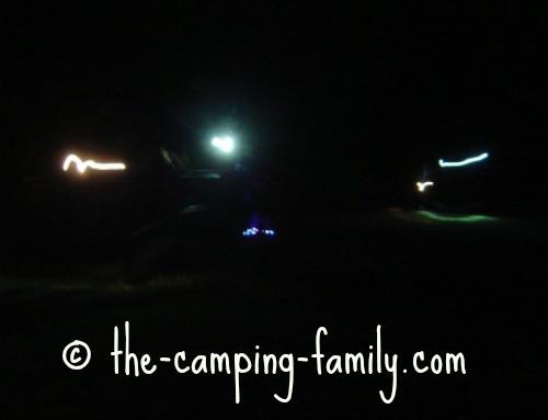 flashlight beams in the dark