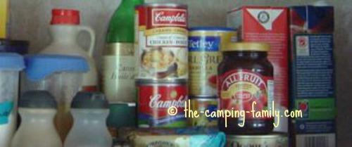 food in RV cupboard