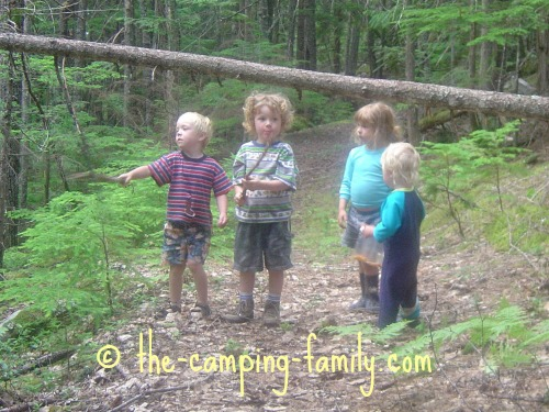 4 small boys in the woods