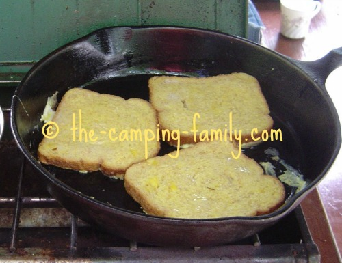 French toast cooking in skillet