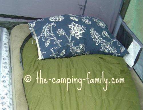 air mattress with sleeping bag and pillow