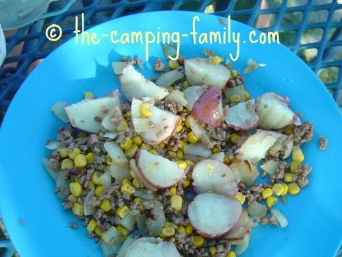 ground beef and potatos with corn