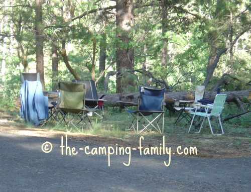 grouping of folding camping chairs