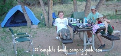 family at campsite