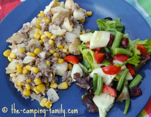 ground beef and potatoes on a plate
